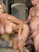 Kelly gives a blowjob and gets fucked doggie style and gets fucked on the floor.