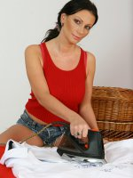 She does her housework them plays with her big mature tits