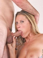 Dirty blonde cougar Devon Lee receives a thorough fucking before taking a massive cum explosion on her face
