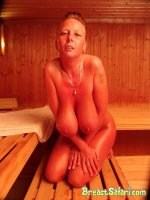 Busty mature in sauna