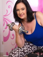 Ria Black - 48 year old Rita Black from AllOver30 lifting weights and spreading puss