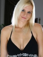 Gorgeous blonde Slovanna shows of her big mature tits and mature pussy
