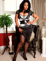 Danica Collins in lace topped stockings and 6