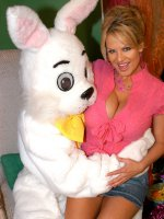 Kelly and her girlfriends fuck a big bunny cock for Easter!